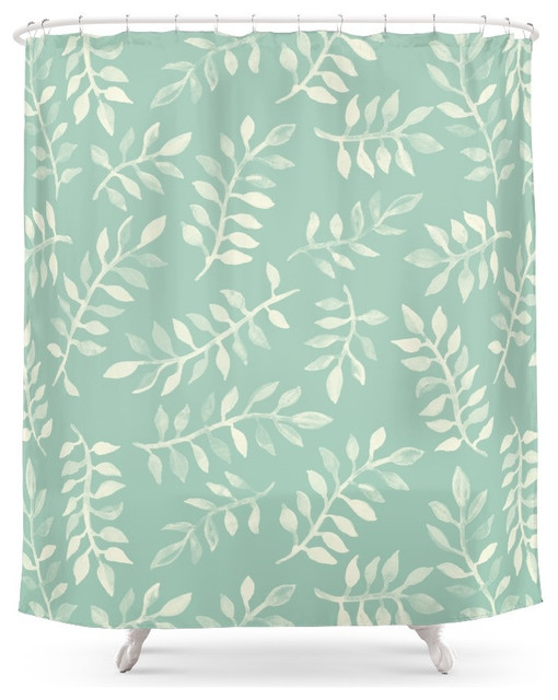 Society6 Painted Leaves, A Pattern In Cream On Soft Mint Green Shower  Curtain Contemporary   Contemporary Shower Curtains