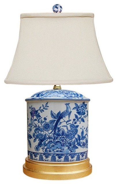 Blue And White Porcelain Oval Floral Bird Motif Table Lamp, 20.