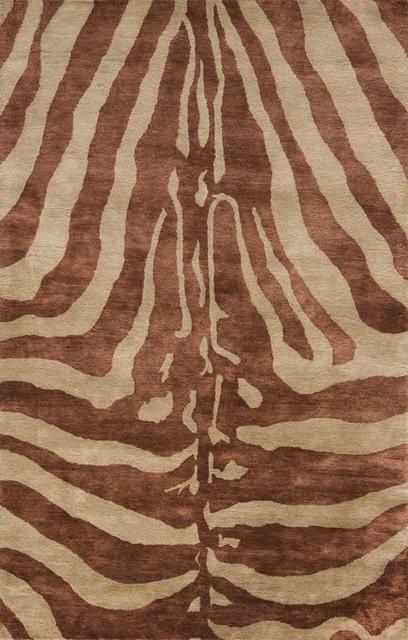 Momeni Serengeti Copper Brown Zebra Animal Prints 2u0027x3u0027 Rug  Contemporary Novelty