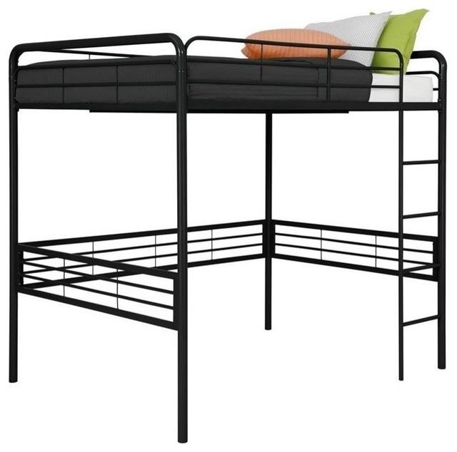 DHP Full Metal Loft Bed Black Contemporary Loft Beds