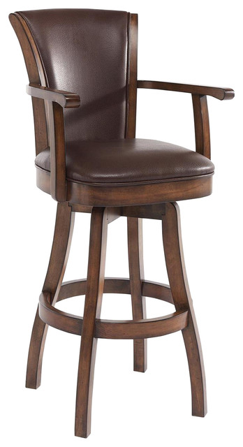 Armen Living Raleigh Arm Swivel Wood Barstool Chestnut