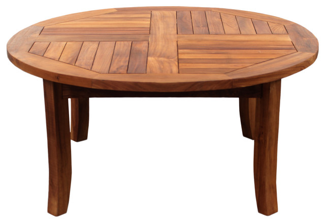 Teak Italy Round Coffee Table Transitional Outdoor Coffee Tables