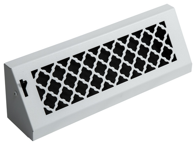 "15"" Solid Steel Baseboard Vent, White Finish, With Damper."