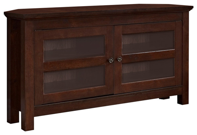 We Furniture 44 Wood Tv Media Stand Storage Console, Brown.
