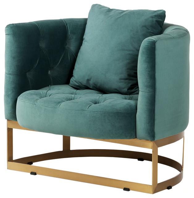 Bach Occasional Chair, Peacock Blue Velvet.