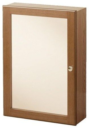 "17"" Heartland Mirrored Medicine Cabinet, Oak."