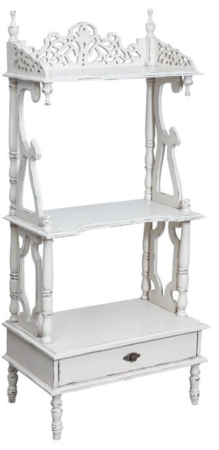 Solid Wood Carved Shelving Unit, White