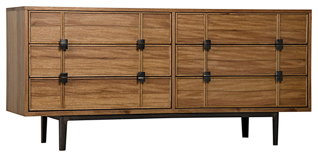 noir bourgeois sideboard w metal base dark walnut. Black Bedroom Furniture Sets. Home Design Ideas