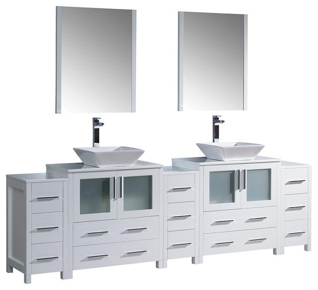 Fresca Torino 96 White Modern Double Sink Bathroom Vanity.