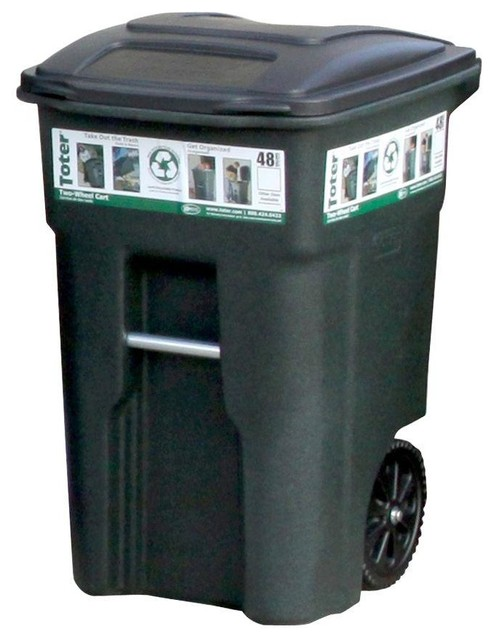 48 Gallon Wheeled Trash Can Greenstone