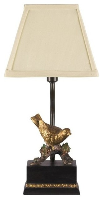Perching Robin Table Lamp, Gold Leaf And Black.