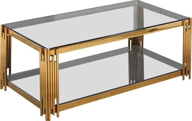 Avignon Rectangular Glass Top Coffee Table, Gold