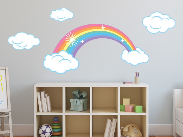 Sparkling Rainbow Fabric Wall Decals With Clouds, Pastel Rainbow  Contemporary Wall Decals
