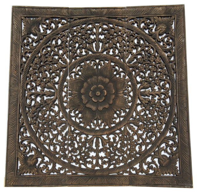 Favorite Elegant Wood Carved Wall PanelsWood Carved Floral Wall Art Bali  FH35