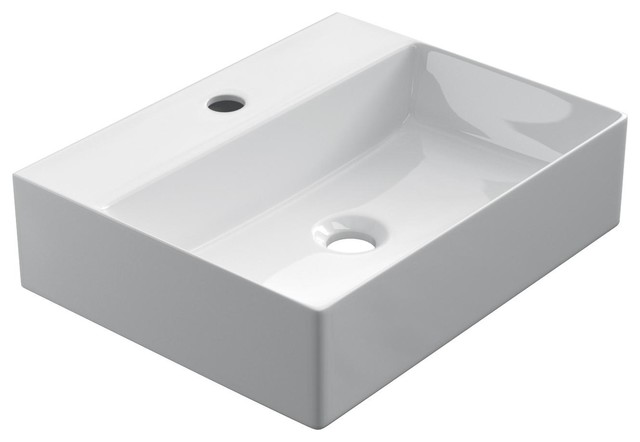 Blanco Rectangular Ceramic Vessel Bathroom Sink, 45 cm