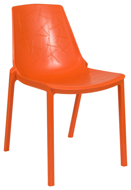 Leisuremod Leisuremod Modern Clover Dining Chair Orange