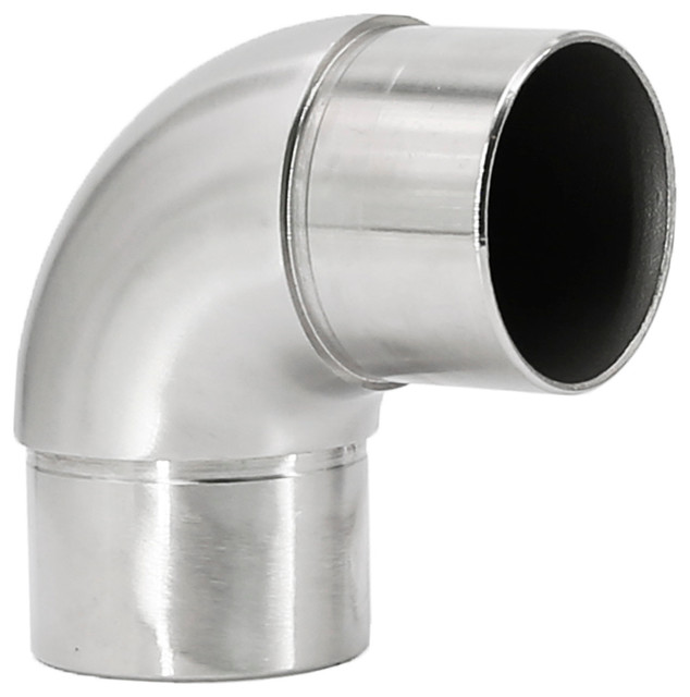 """Flush Elbow Fitting 90º Degree 2/"""" OD Bar Foot Rail Brushed Stainless Steel"""