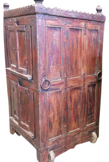 Consigned Antique Armoire Furniture Vintage Indian Red Cabinet On Wheel    Mediterranean   Armoires And Wardrobes   By Mogul Interior