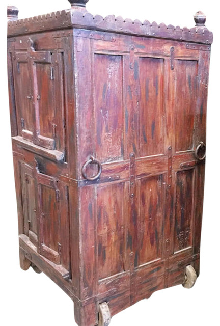 Consigned Antique Armoire Furniture Vintage Indian Red Cabinet on wheel - Consigned Antique Armoire Furniture Vintage Indian Red Cabinet On