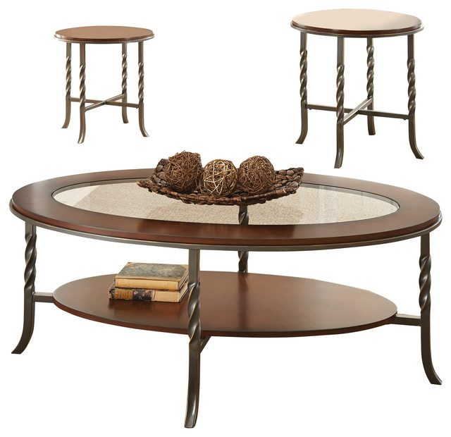 Steve Silver Vance 3 Piece Coffee Table Set In Brown