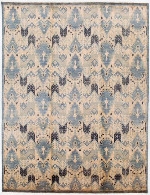 oriental ikat runner rug without border blue and tan 7.7x10