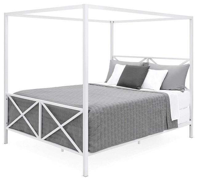 Queen Size Modern Canopy Bed Frame In