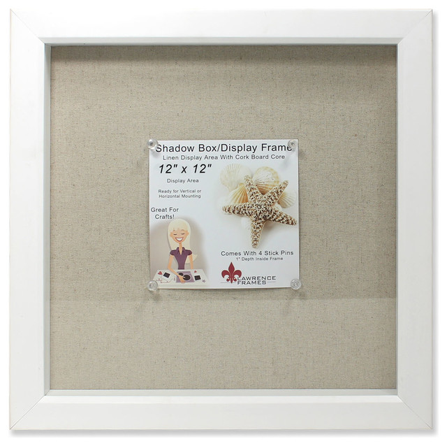 12x12 white shadow box frame linen inner display board contemporary picture frames