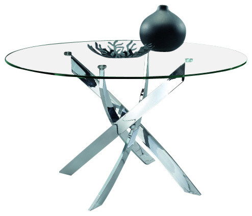 Modrest Pyrite Modern Round Glass Dining Table Contemporary Dining Tables