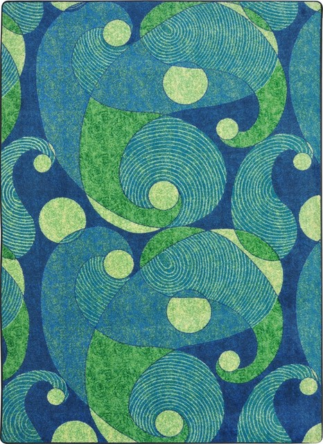 "Kid Essentials Rug, Jazzy, Blue And Teal, 5&x27;4""x7&x27;8""."