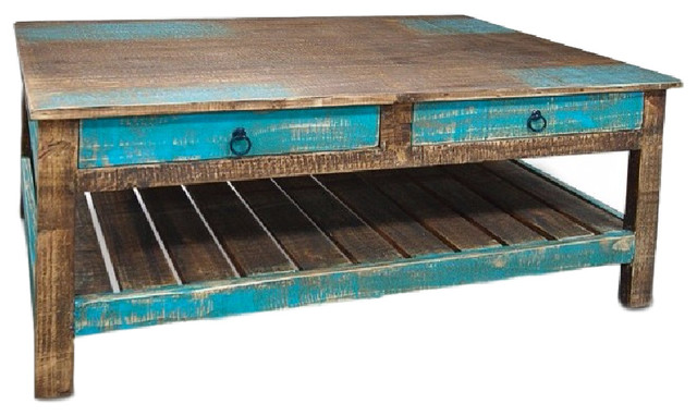 Rustic Distressed Reclaimed Solid Wood Coffee Table With Drawers  Beach Style Coffee Tables