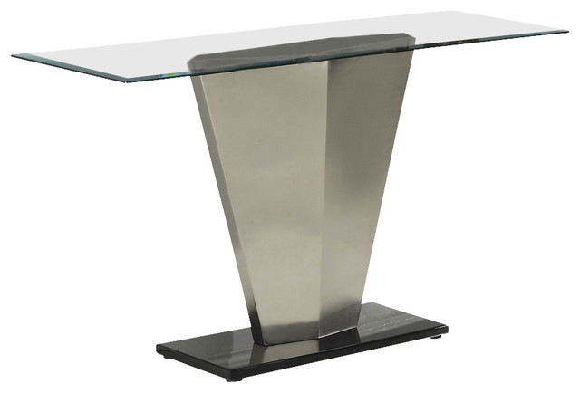 Homelegance Silverstone Rectangular Glass Sofa Table With Brushed