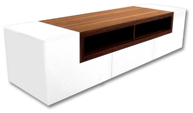 Patta Tv Stand, White High Gloss With Light Walnut Top.