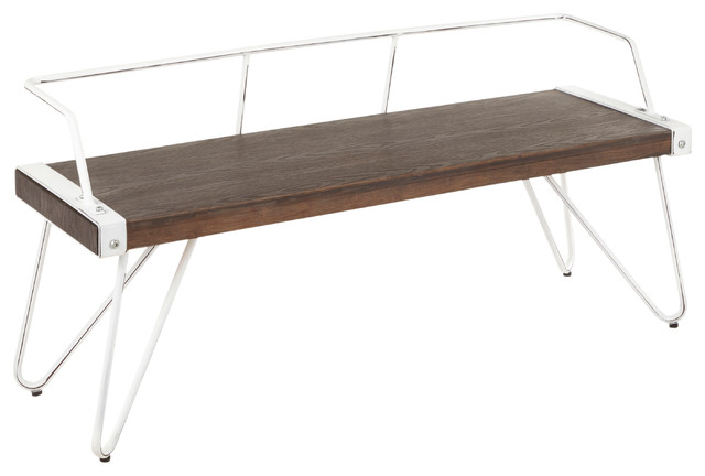 LumiSource Stefani Bench, Vintage White Metal/Espresso Wood-Pressed Grain Bamboo
