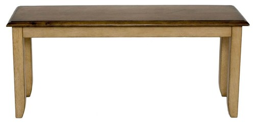 Bench in Distressed Two Tone Light Creamy Wheat Finish