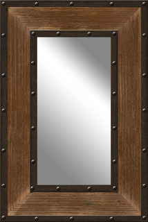 Industrial Metal and Wood Mirror - Rustic - Wall Mirrors