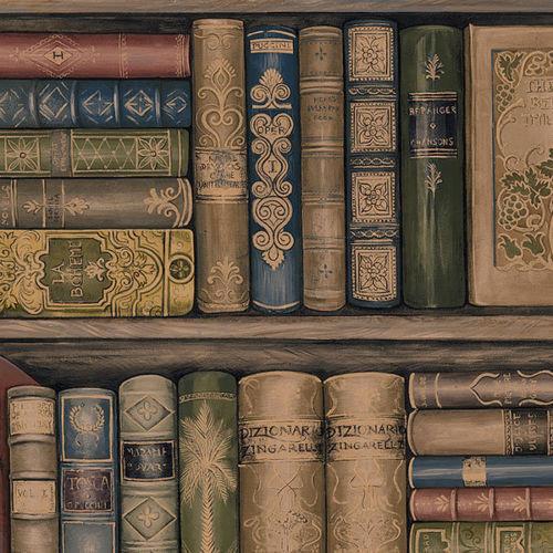 Trompe L&x27;oiel Library Book Shelf Wallpaper, Single Roll.
