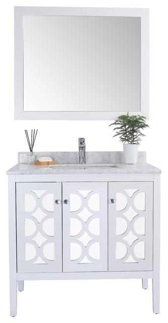 Mediterraneo Single Vanity, White, White Carrara Marble, 36 by LAVIVA