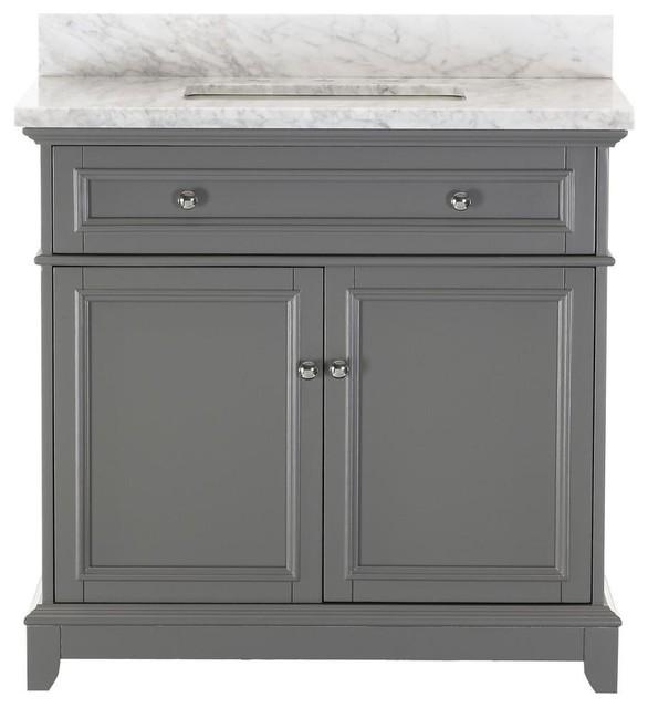 "Kennon Gray Bathroom Vanity With Marble Top, 36"""