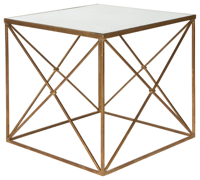 Furano Gold Hollywood Regency Antique Mirror Cube Side Table  Transitional Side Tables And