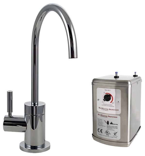 "Amity 5l Pendant Brushed Chrome: Premium Contemporary 9"" Hot Water Dispenser"