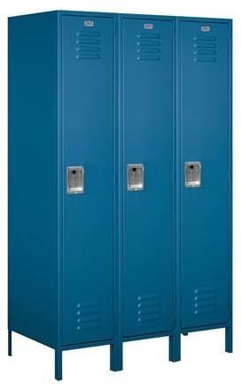 """Single Tier Standard Metal Locker, Blue, 21""""."""