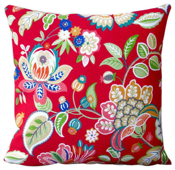 Outdoor Floral In Red Modern Decorative 18x18 Throw Pillow