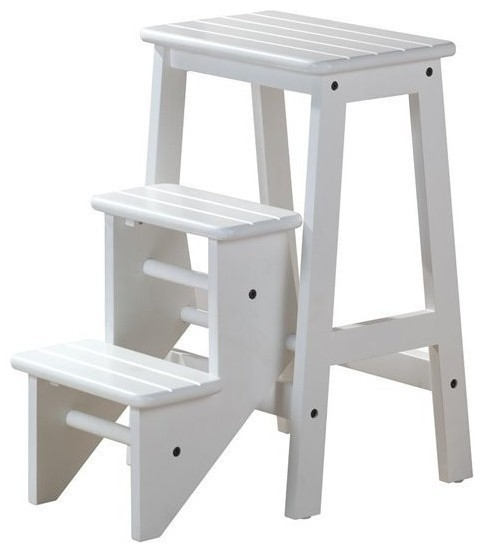 3 Step Wood Step Stool in White Finish