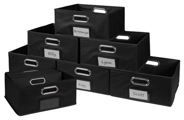 Black Niche Set of 12 Cubo Foldable Fabric Bins
