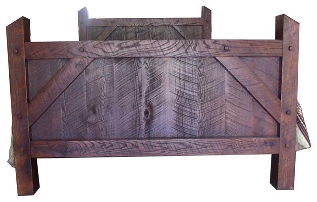 Rustic Rough Cut Red Oak Queen Size Bed Frame
