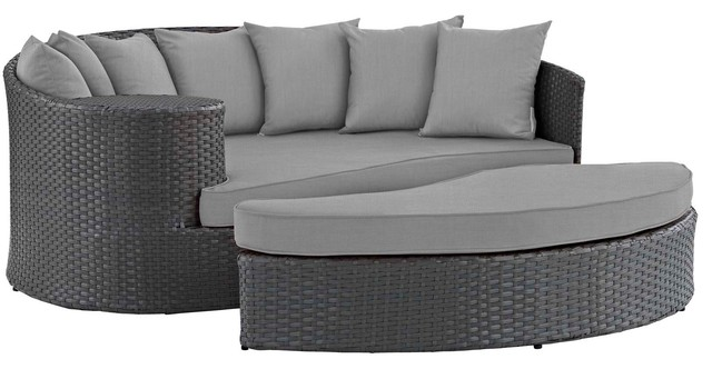 Modern Outdoor Lounge Daybed Sofa Bed, Sunbrella Rattan Wicker ...