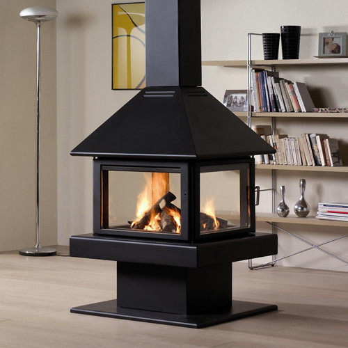 Rocal giselle 100 wood burning stove contemporary for Contemporary wood fireplace
