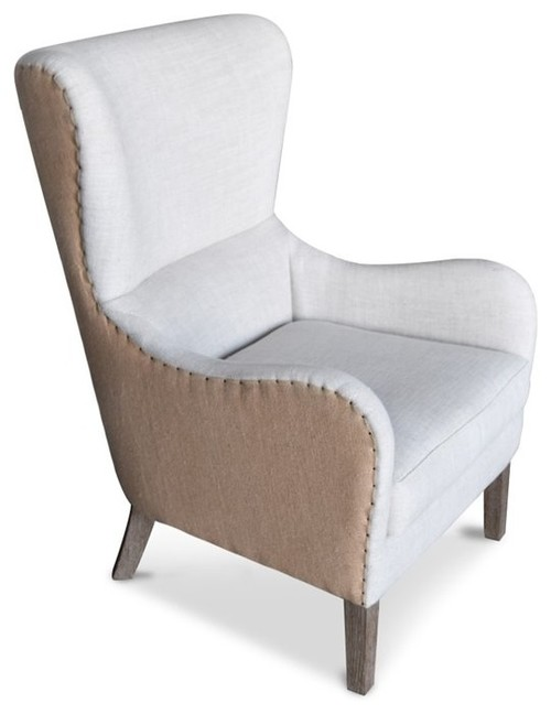 Elle Wingback Accent Chair, Beige
