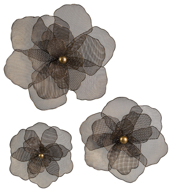 Metal Flowers Wall Decor astaire flower wall decor, 3-piece set - contemporary - metal wall