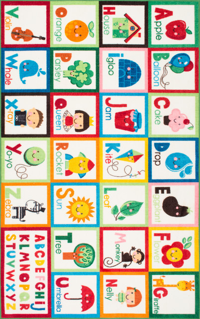 Nuloom Kids Alphabet Block Cartoons Area Rug, Multi, 6&x27;7x9&x27;.